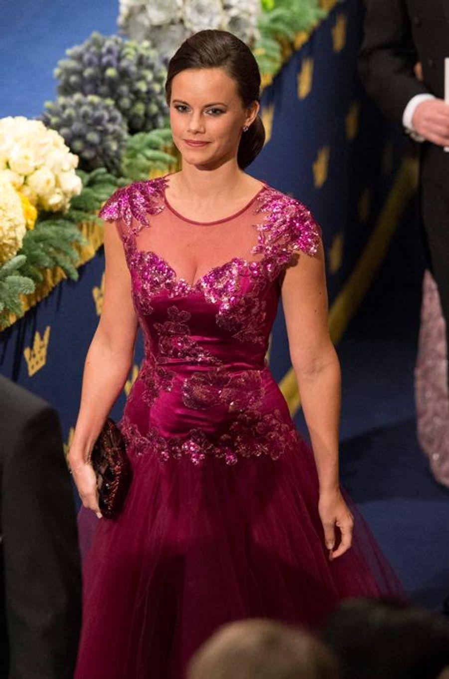 Sofia Hellqvist au banquet des prix Nobel à Stockholm, le 10 décembre 2014