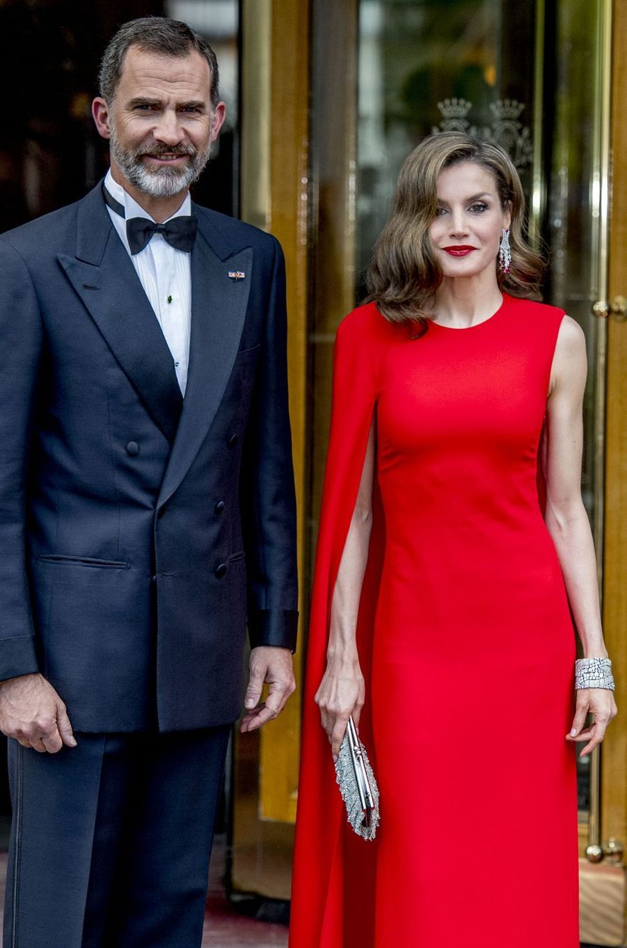 La reine Letizia et le roi Felipe VI d'Espagne à La Haye, le 29 avril 2017