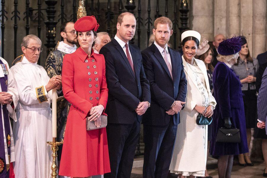 Kate, William, Harry et Meghan lors de la journée du Commonwealth à l'abbaye de Westminster à Londres le 11 mars 2019