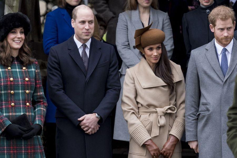Kate, William, Meghan et Harryà la messe de Noël à Sandringham le 25 décembre 2017