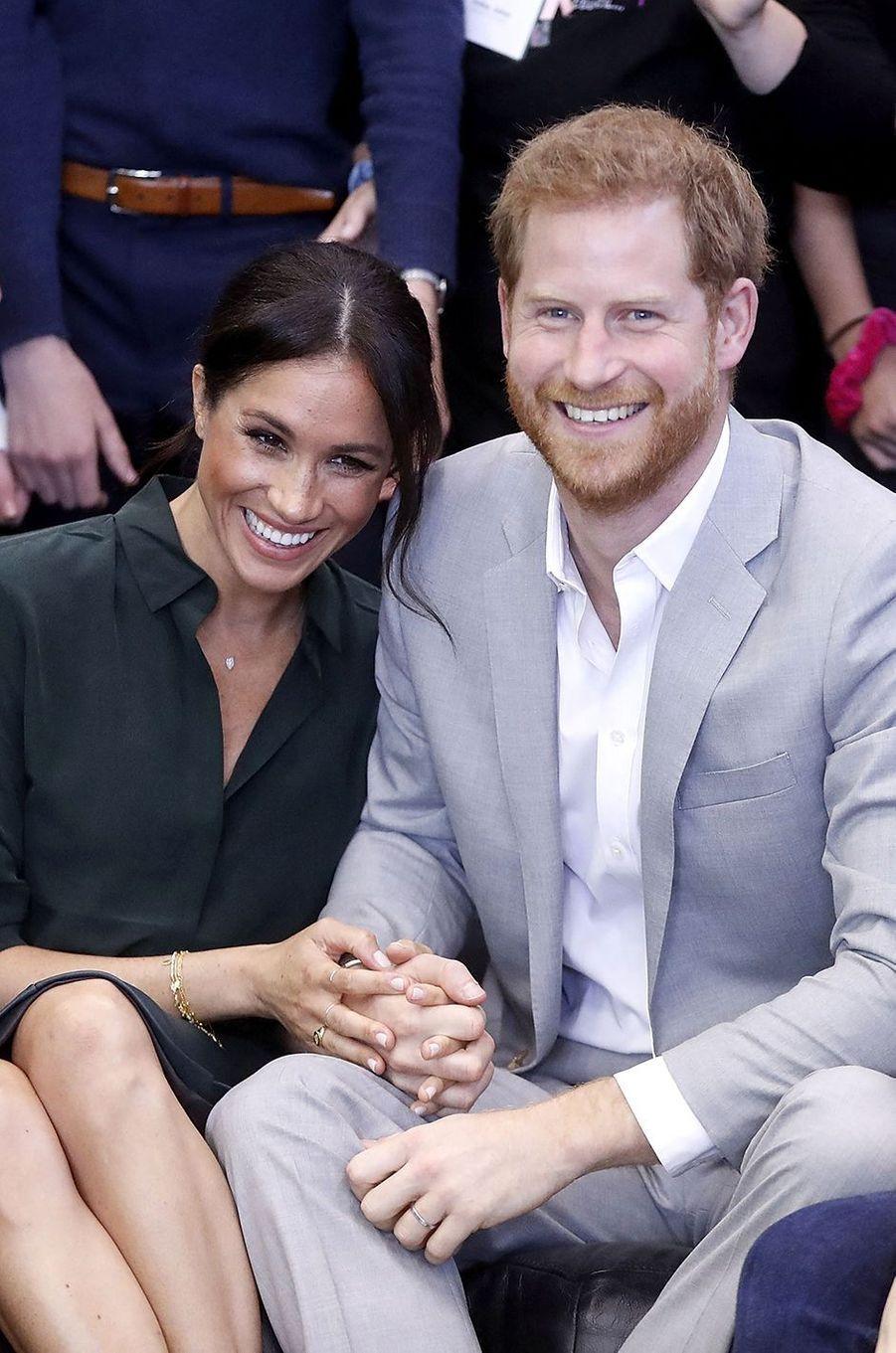Meghan et Harry en visite dans le Sussex le 3 octobre 2018. Quelques jours plus tard, ils annonçaient la grossesse de Meghan.