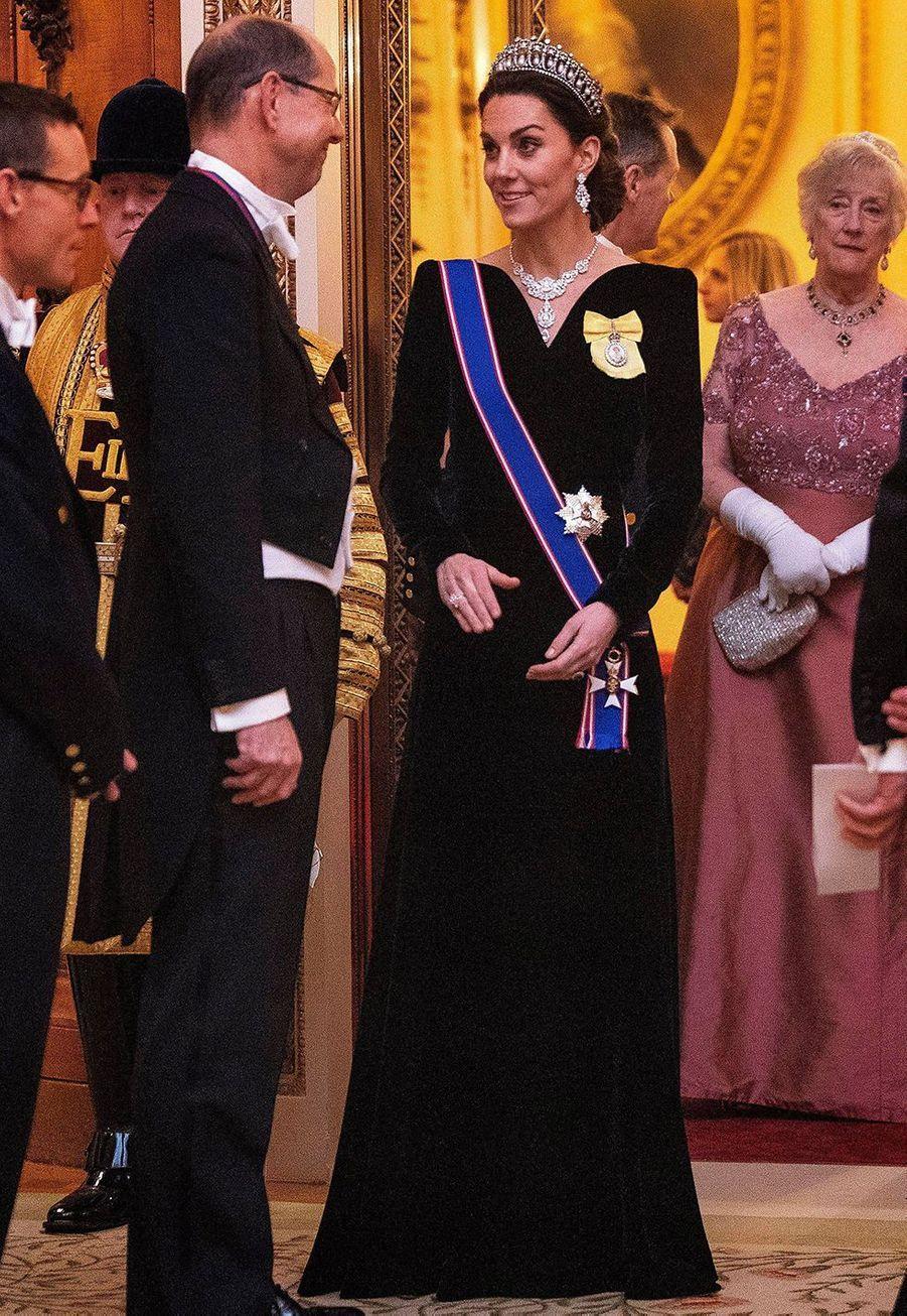 Kate Middletonà Buckingham Palace pour la réception organisée par la reine pour le corps diplomatique, à Londres le 11 décembre 2019
