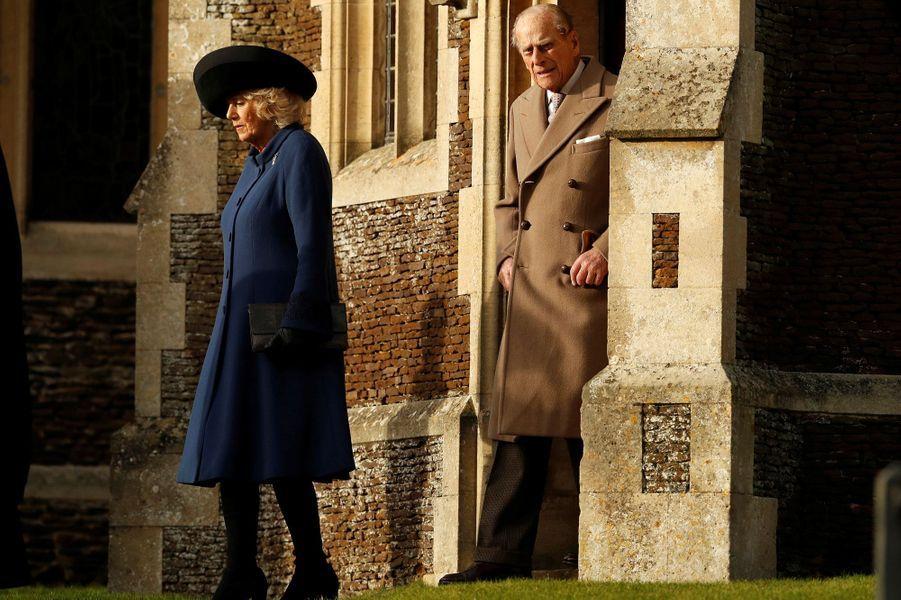 La duchesse de Cornouailles Camilla et le prince Philip à Sandringham, le 25 décembre 2016
