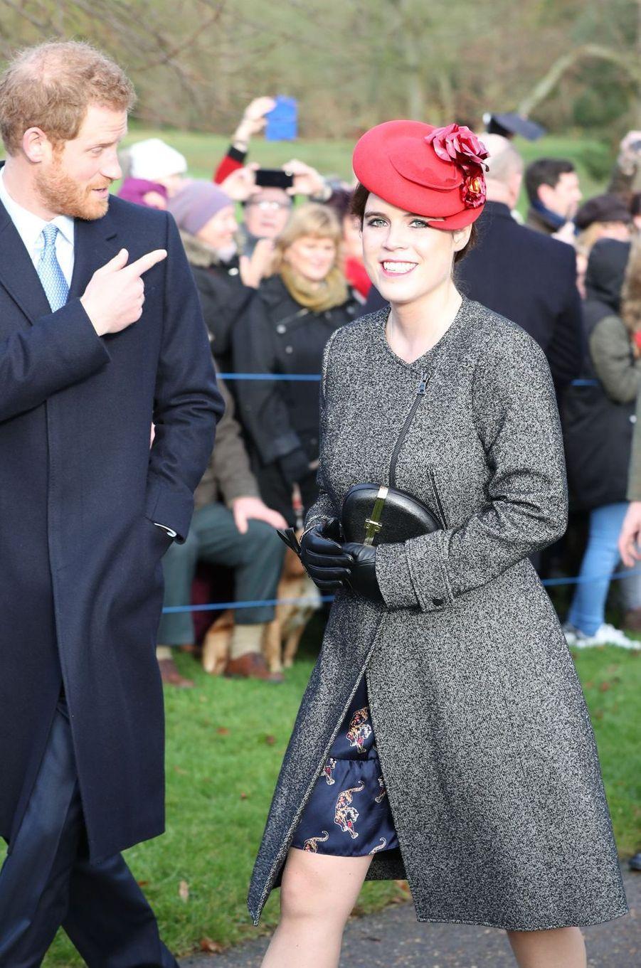 Le prince Harry et la princesse Eugenie à Sandringham, le 25 décembre 2016