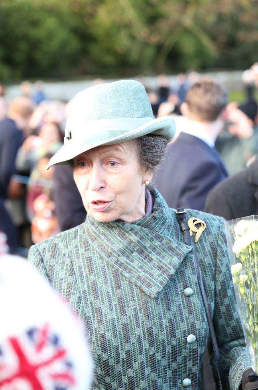 La princesse Anne à Sandringham, le 25 décembre 2016