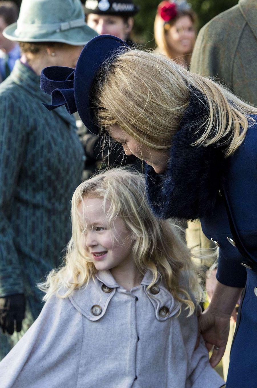Autumn Philips et sa fille Savannah à Sandringham, le 25 décembre 2016