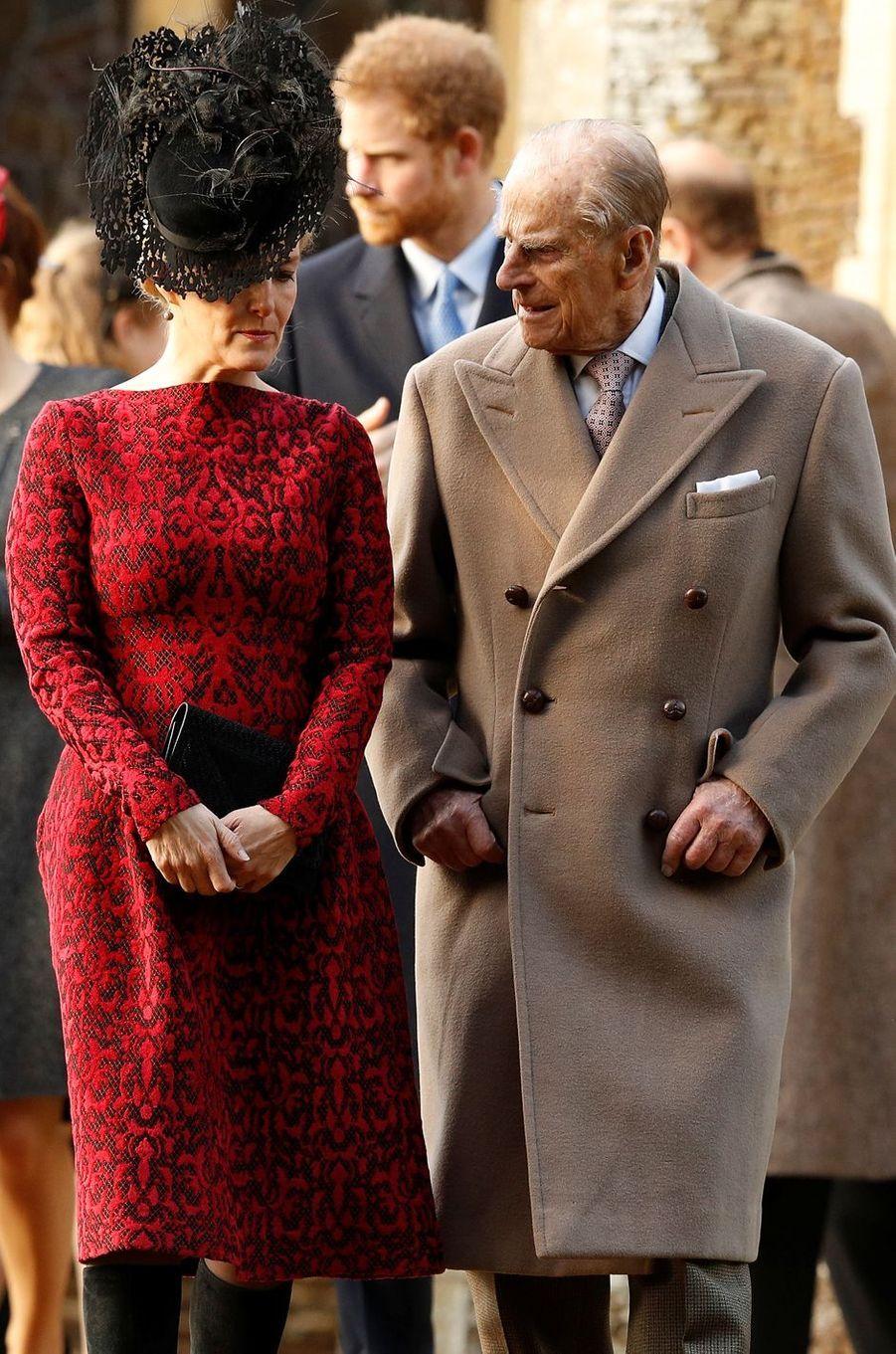 Le prince Philip et la comtesse Sophie de Wessex à Sandringham, le 25 décembre 2016