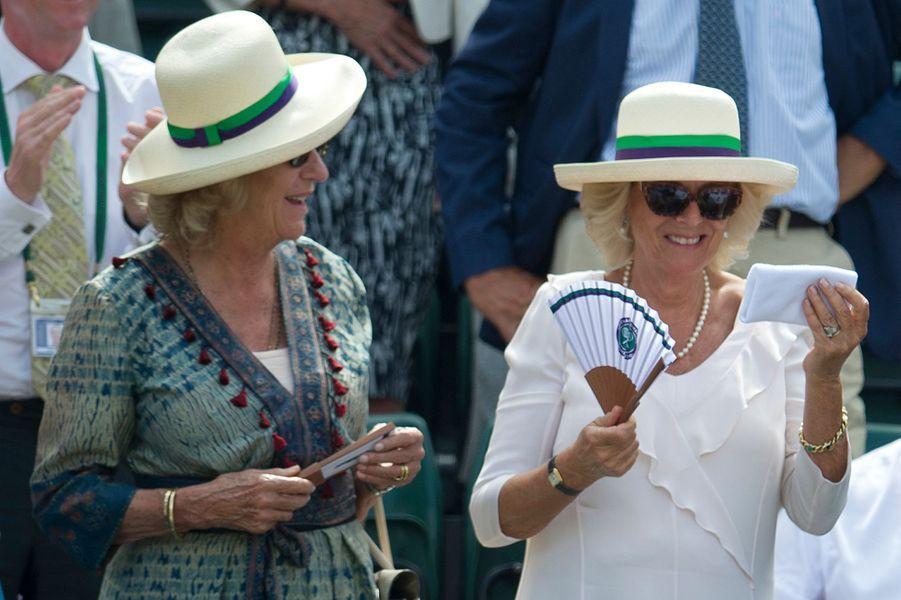 La duchesse de Cornouailles Camilla à Wimbledon, le 2 juillet 2015