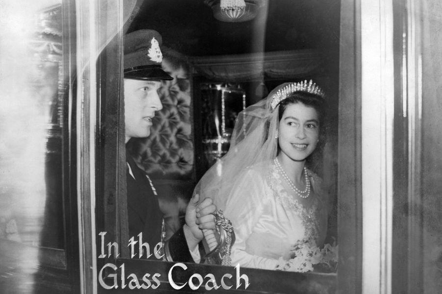 La princesse Elizabeth le jour de son mariage à Londres, le 20 novembre 1947