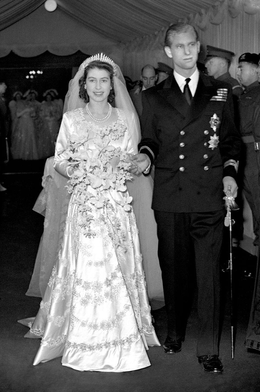 La princesse Elizabeth et le prince Philip le 20 novembre 1947, jour de leur mariage