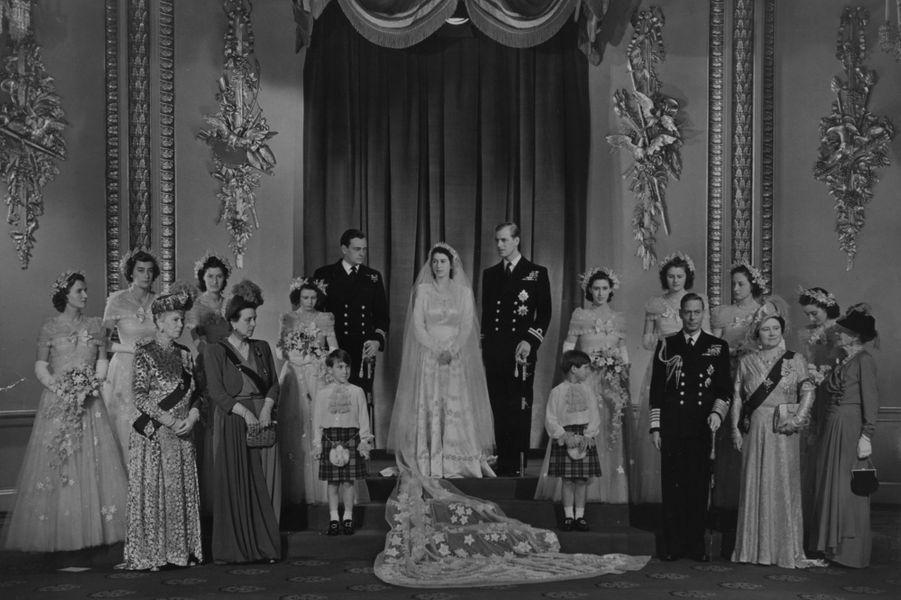 La princesse Elizabeth et le prince Philip, le jour de leur mariage, à Londres le 20 novembre 1947