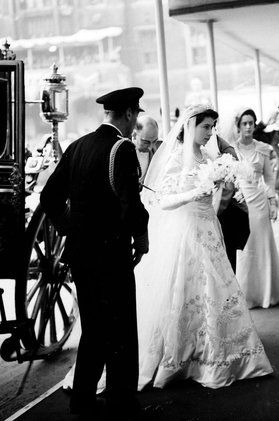La princesse Elizabeth, le jour de son mariage, à Londres le 20 novembre 1947