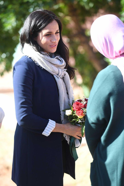 Meghan Markle lors de sa visite au village Asni au Maroc le 24février 2019