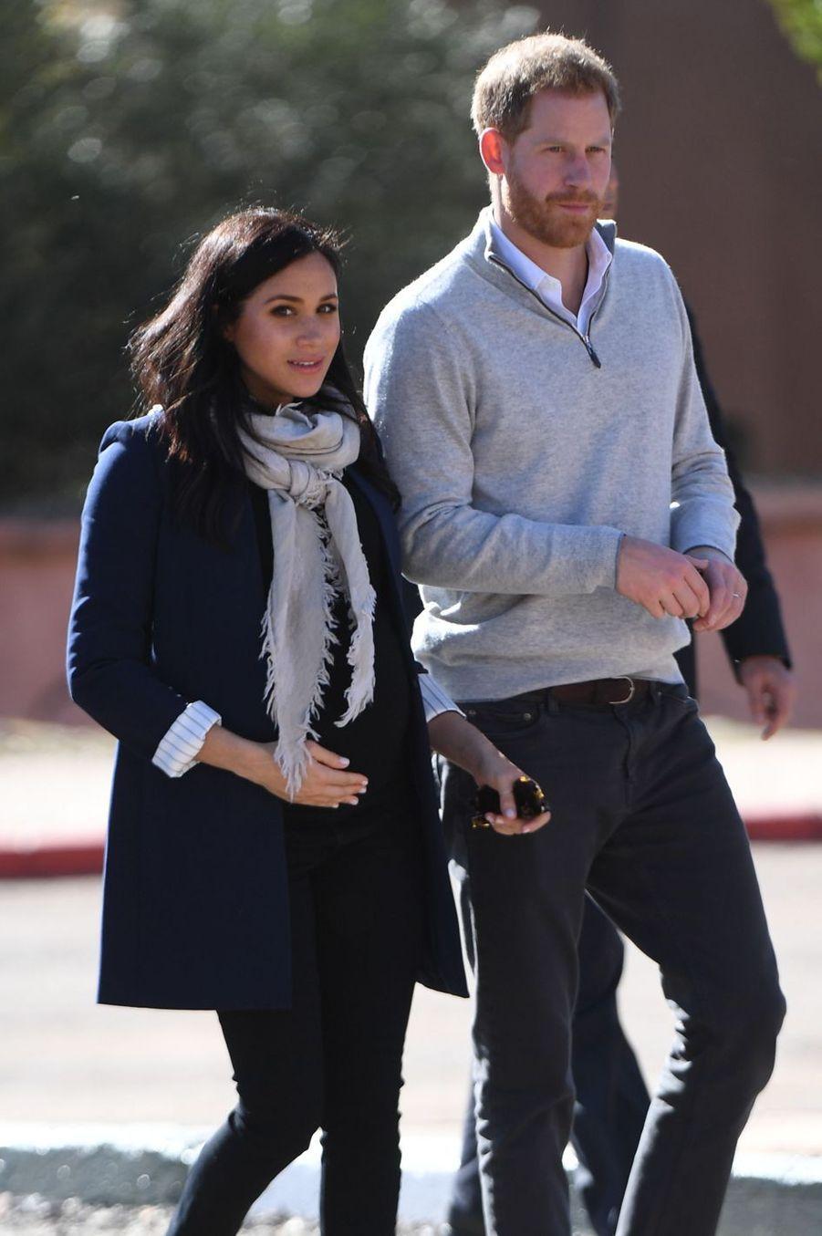 Meghan Markle et le prince Harry lors de leur visite au village Asni au Maroc le 24février 2019