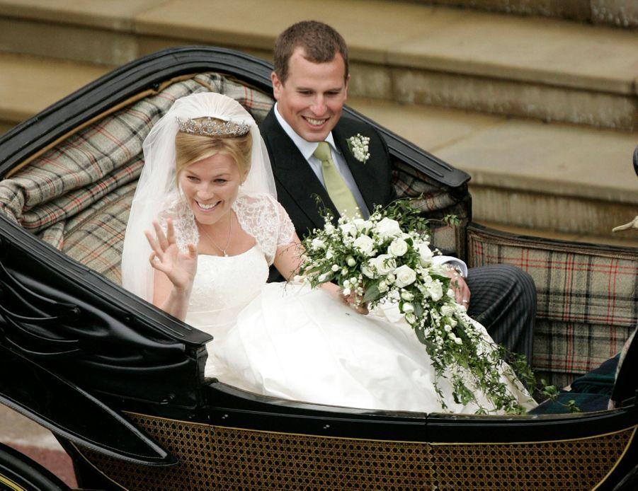 Peter Phillips et Autumn Kelly, le 17 mai 2008, jour de leur mariage à Windsor