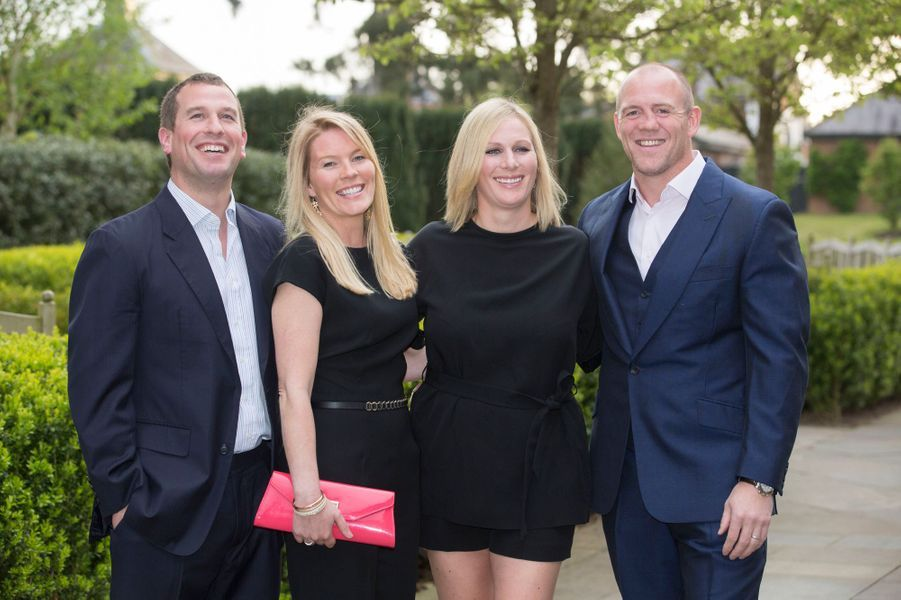 Peter et Autumn Phillips avec Zara Phillips et son mari Mike Tindall, le 8 mai 2015