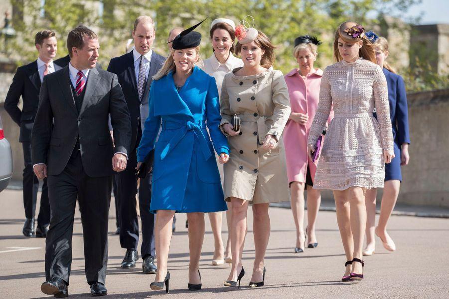 Peter et Autumn Phillips, le 16 avril 2017 avec la famille royale britannique