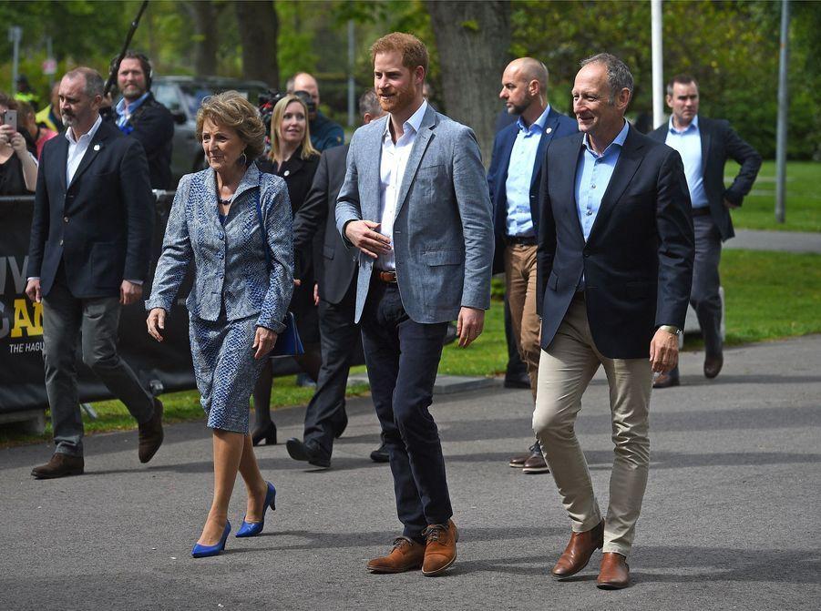 Margriet des Pays-Bas et le prince Harry à La Haye pour les préparatifs des Invictus Games, le 9 mai 2019