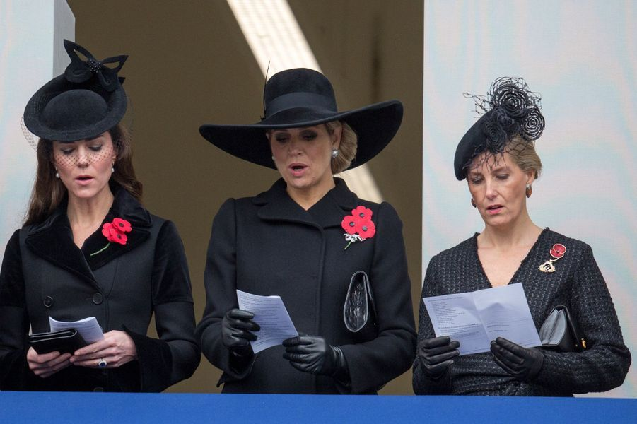La duchesse de Cambridge Kate, la reine Maxima des Pays-Bas et Sophie de Wessex à Londres, le 8 novembre 2015