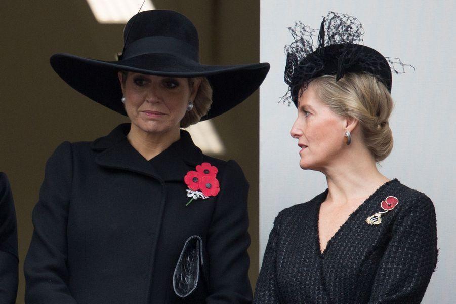 La reine Maxima des Pays-Bas avec la comtesse Sophie de Wessex à Londres, le 8 novembre 2015