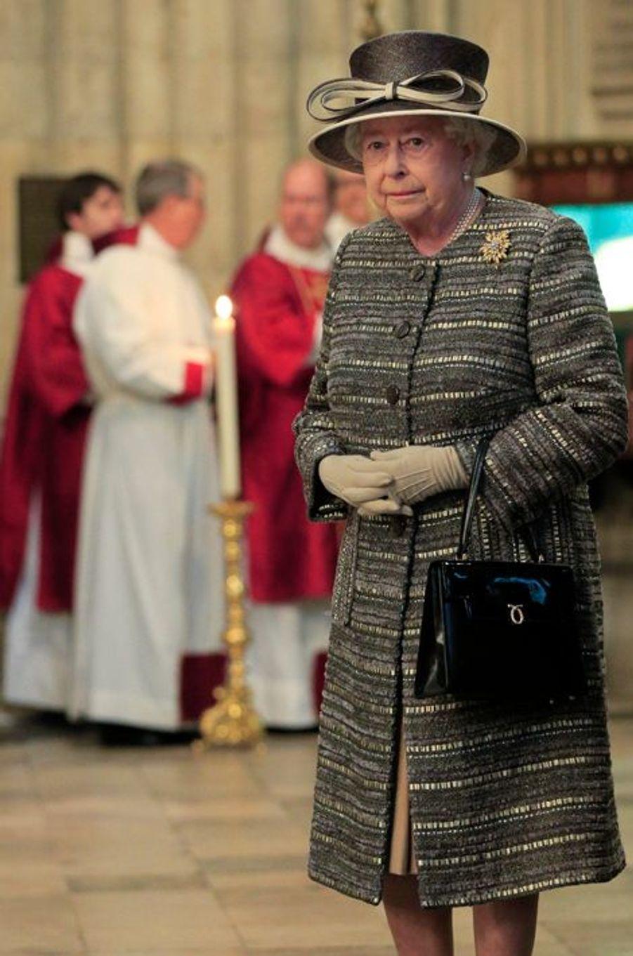 La reine Elizabeth II à l'abbaye de Westminster, le 24 novembre 2015