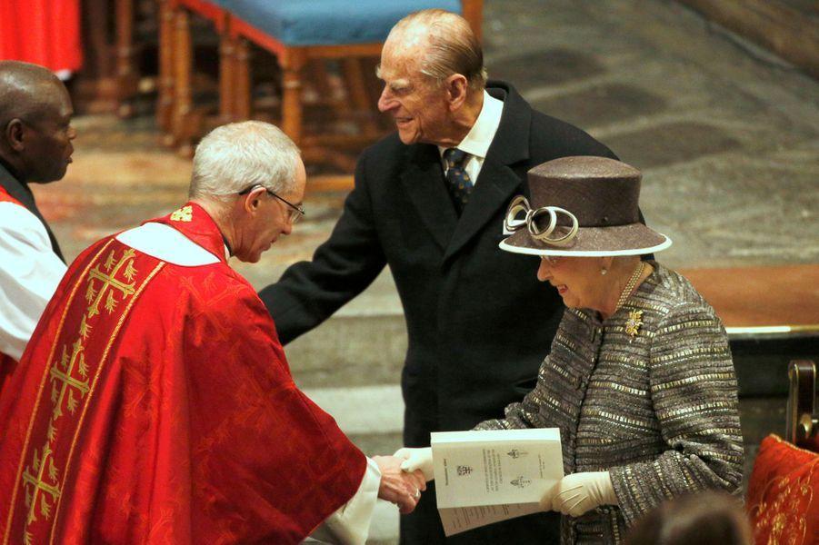 La reine Elizabeth II et le prince Philip à l'abbaye de Westminster, le 24 novembre 2015