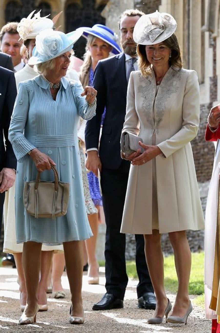 Camilla et Pippa Middleton au baptême de la princesse Charlotte à Sandringham, le 5 juillet 2015