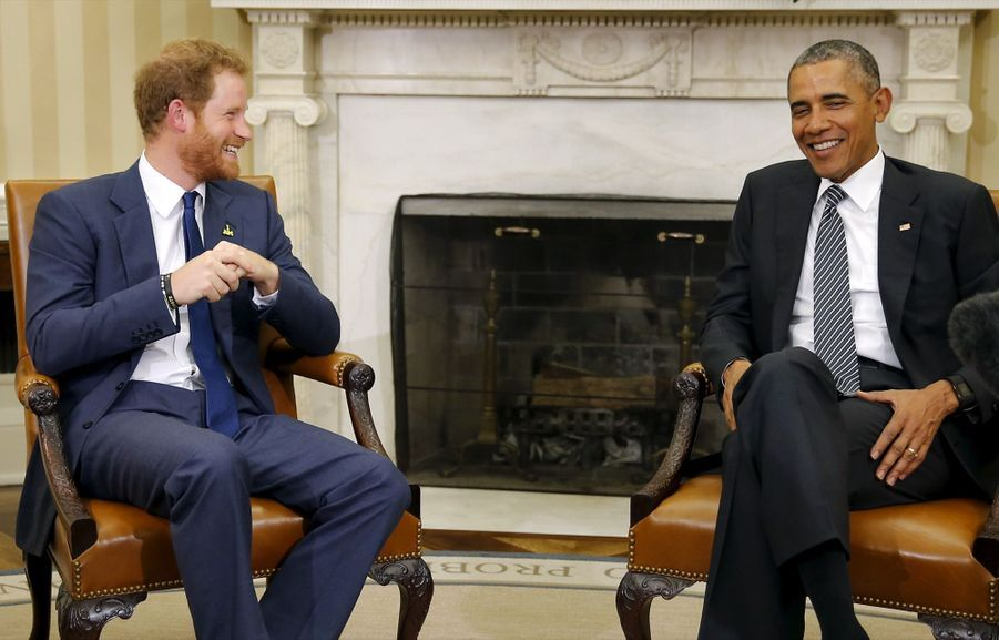Barack Obama et le prince Harry à la Maison Blanche, en octobre 2015.