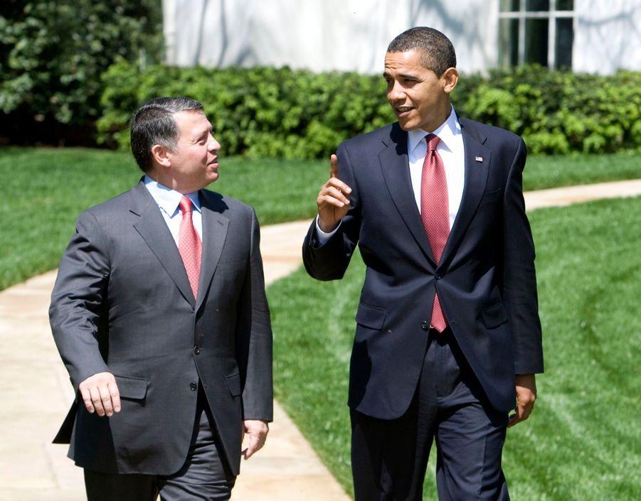 Barack Obama et le roi Abdallah de Jordanie à Washington en avril 2009