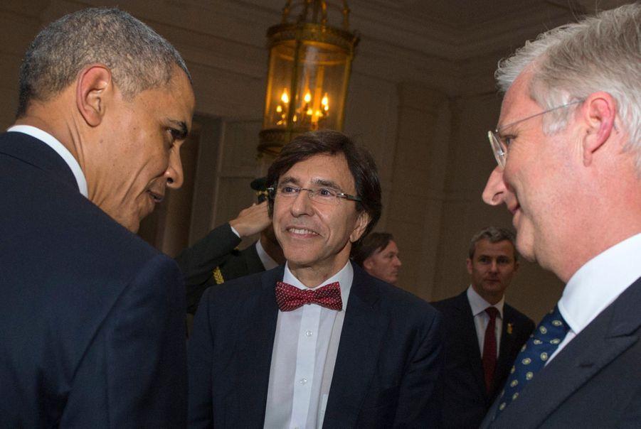 Barack Obama et le roi des Belges Philippe, avec le Premier ministre belge Elio di Rupo, au G7 de Bruxelles en juin 2014.