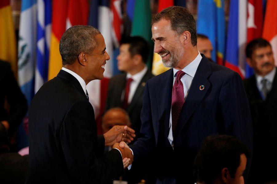 Barack Obama et le roi Felipe d'Espagne à l'Onu, à New York, en septembre 2016.