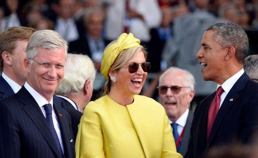 Barack Obama, la reine Maxima des Pays-Bas et le roi des Belges Philippe, aux 70 ans du Débarquement, à Ouistreham le 6 juin 2014.