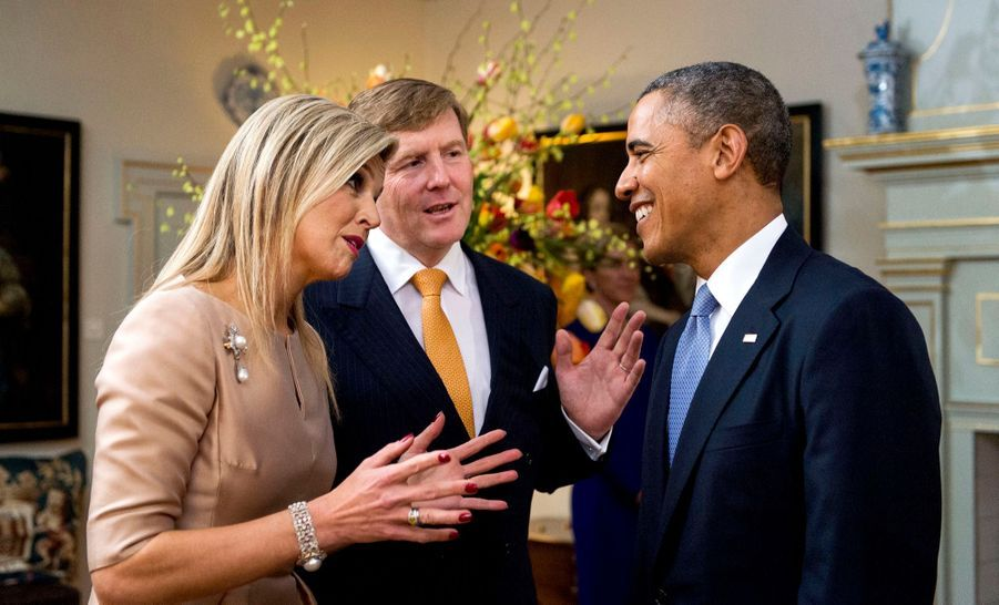 Barack Obama, le roi Willem-Alexander des Pays-Bas et son épouse la reine Maxima au Palais Royal de La Haye en mars 2014.