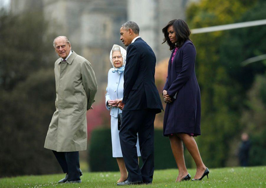Barack Obama, Michelle, le prince Philip et la reine Elizabeth II à Windsor en avril 2016.
