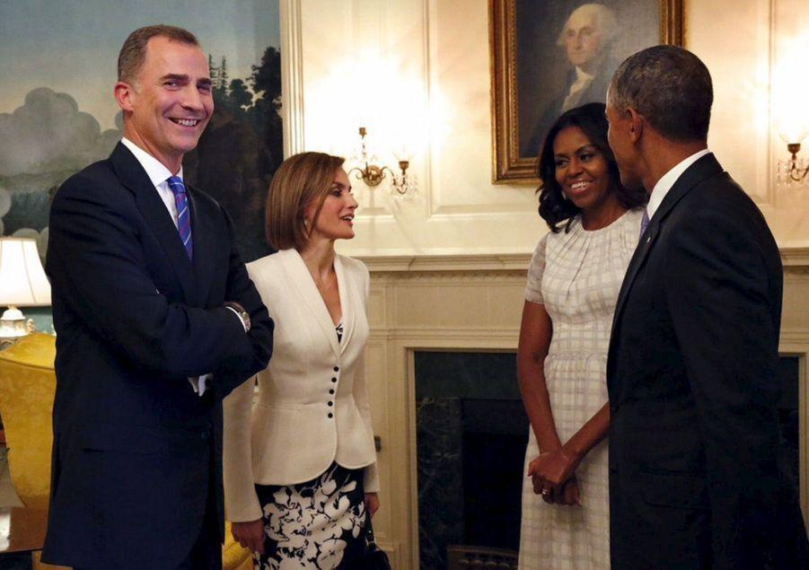 Barack Obama, Michelle, le roi Felipe d'Espagne et la reine Letizia à la Maison Blanche, en septembre 2015.
