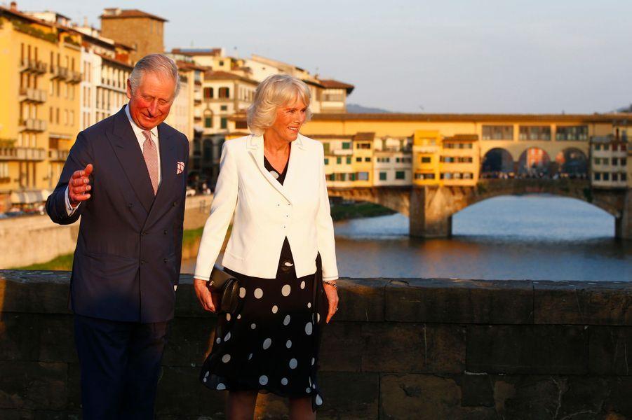 Le prince Charles et la duchesse de Cornouailles Camilla à Florence, le 31 mars 2017