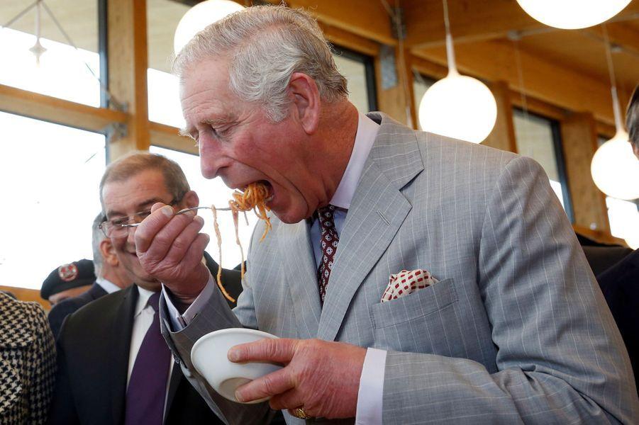 Le prince Charles à Amatrice, le 2 avril 2017