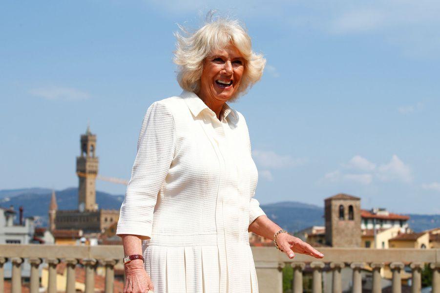 La duchesse de Cornouailles Camilla à Florence, le 3 avril 2017