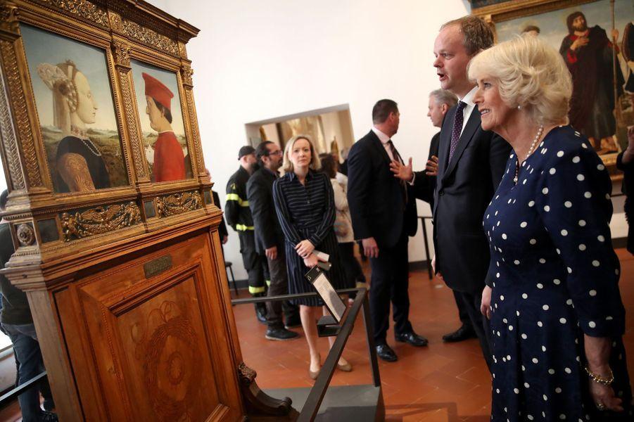 La duchesse de Cornouailles Camilla à Florence, le 2 avril 2017