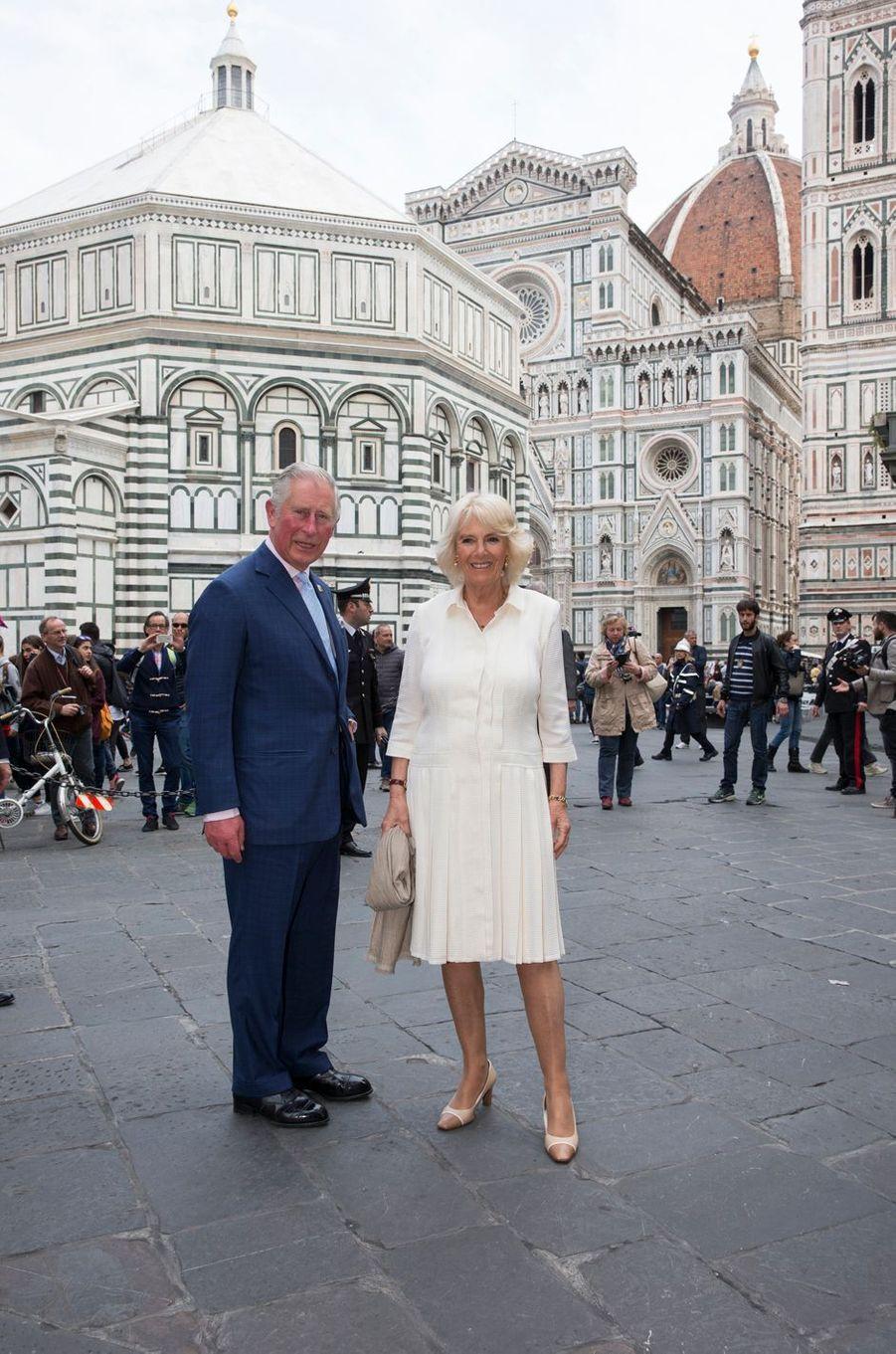 Le prince Charles et la duchesse de Cornouailles Camilla à Florence, le 3 avril 2017