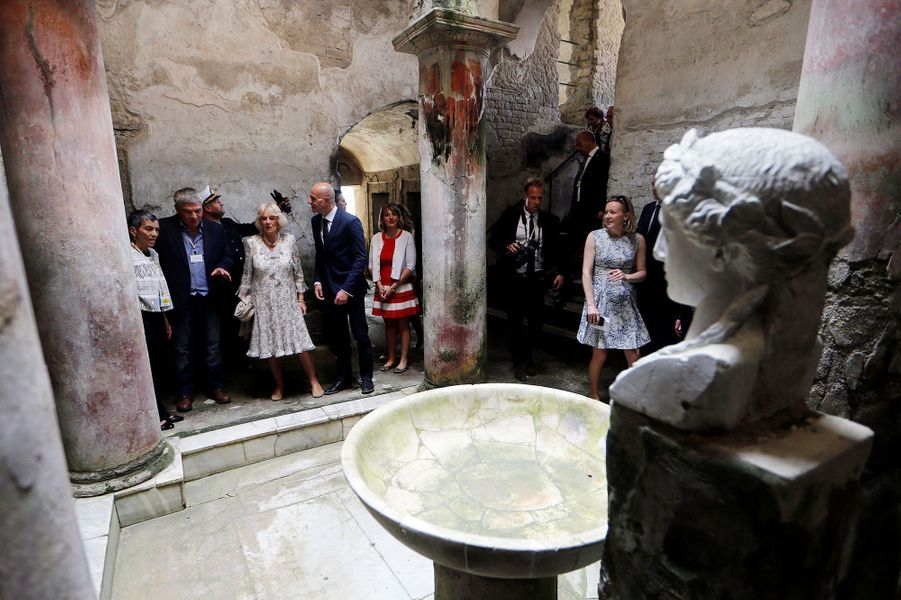 La duchesse de Cornouailles Camilla à Herculanum, le 1er avril 2017