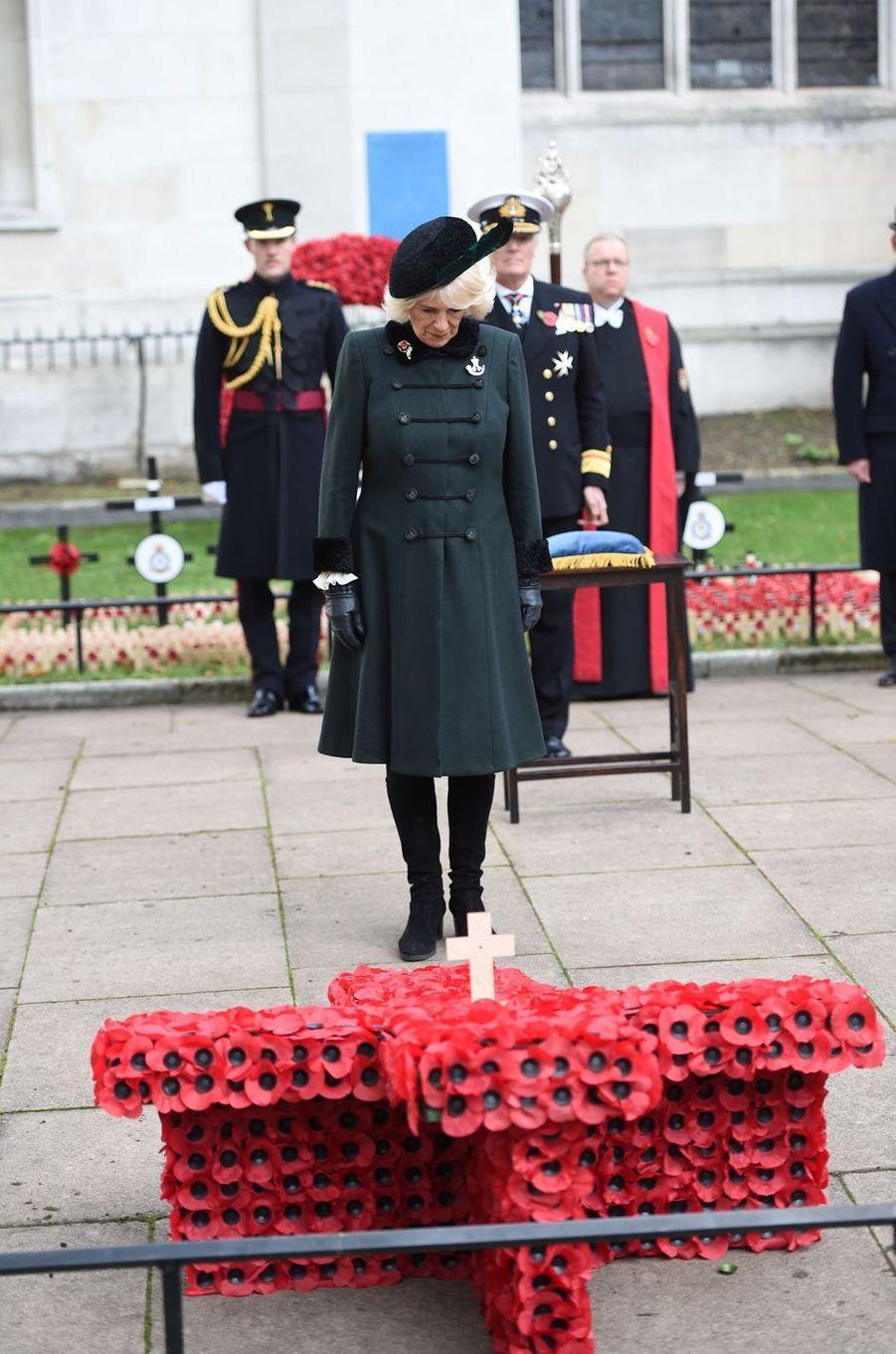 La duchesse de Cornouailles Camilla lors du «Field of Remembrance», le 4 novembre 2020 à Londres