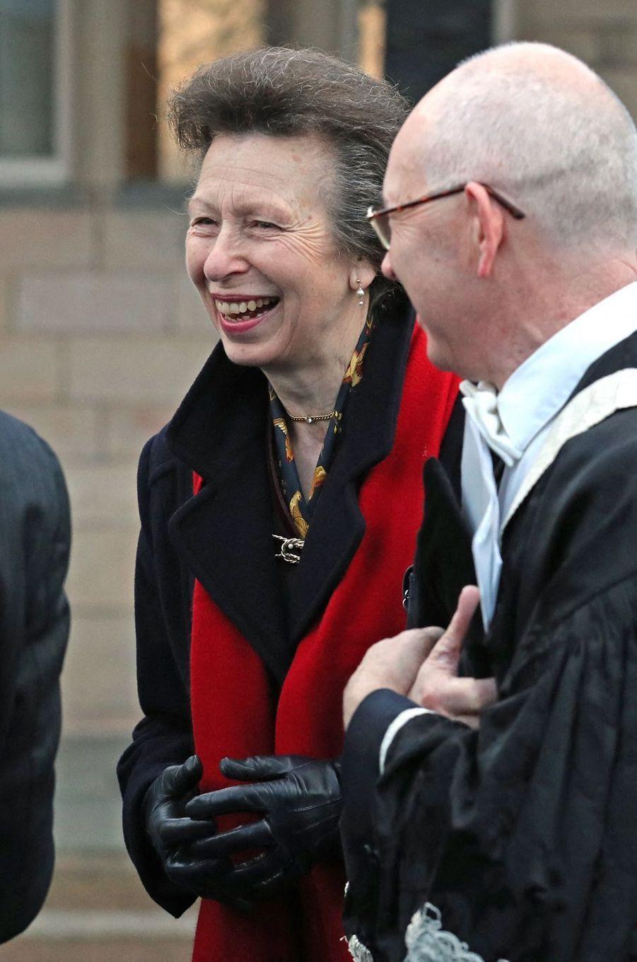 La princesse Anne à Aberdeen en Ecosse, le 14 janvier 2020