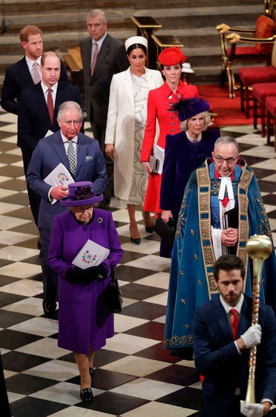 La famille royale britannique à Londres, le 11 mars 2019