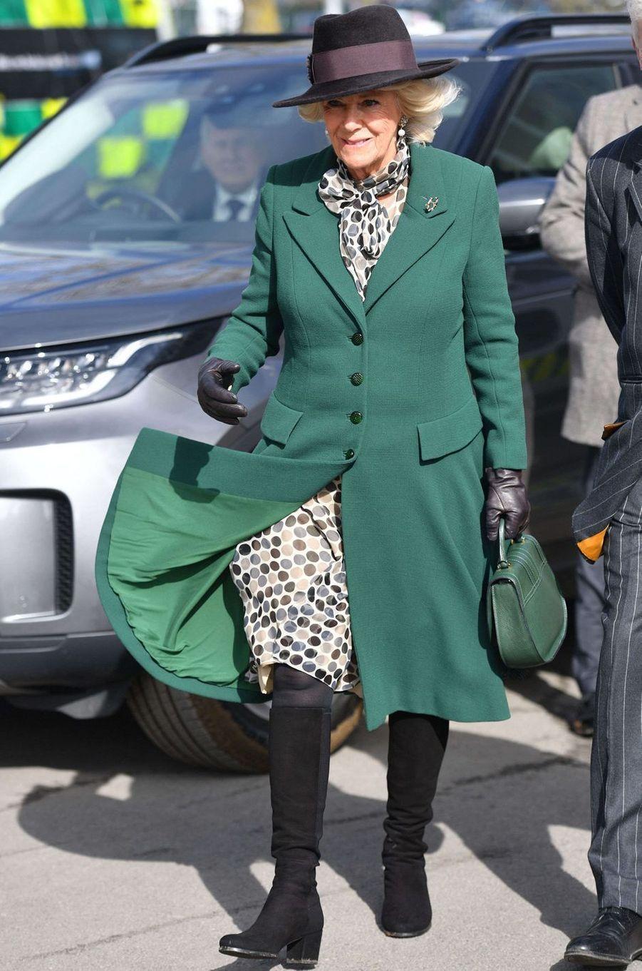 La duchesse de Cornouailles Camilla au Cheltenham Festival, le 11 mars 2020