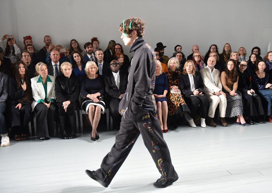 Camilla Parker-Bowles, duchesse de Cornouailles, à la Fashion Week à Londres, le 19 février 2019