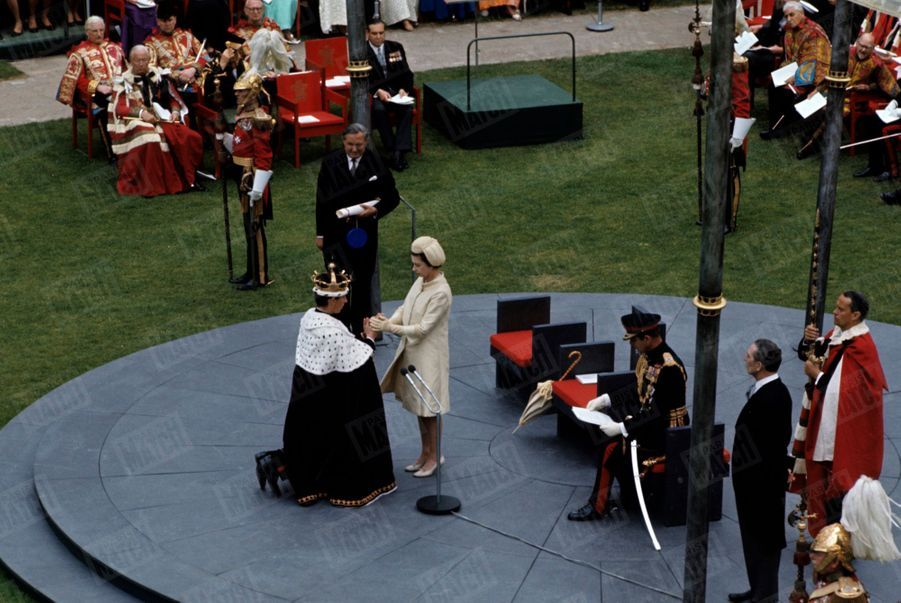 Charles, couronné prince de Galles, le 1er juillet 1969 au Château de Caernarfon.