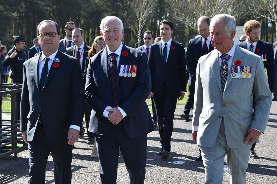 François Hollande, le Gouverneur général du CanadaDavid Johnston et le prince Charles