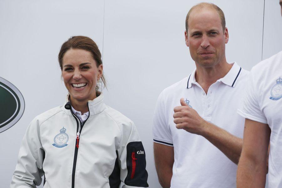 Kate Middleton et le prince William à Cowes sur l'île de Wight le 8 août 2019