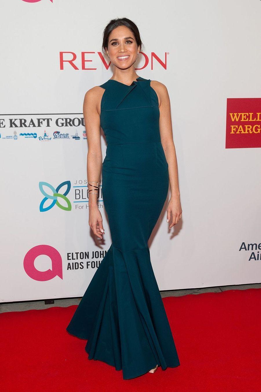 Meghan Markle au gala caritatif de la Elton John AIDS Foundation à New York en octobre 2014.